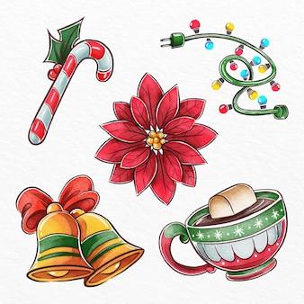 水彩のクリスマス要素のパック