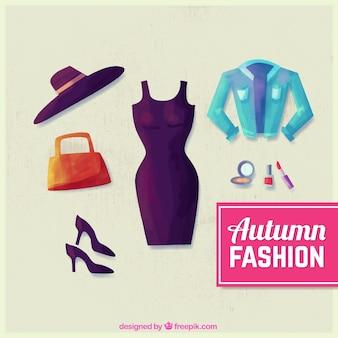 Пакет акварельных элегантной одежды с аксессуарами