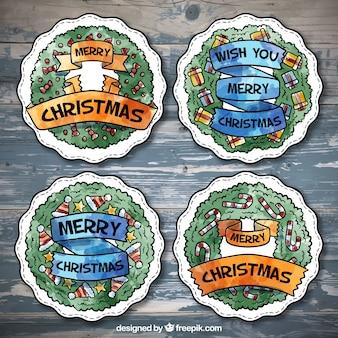 Пакет акварельных круглые наклейки с рождественских сообщений