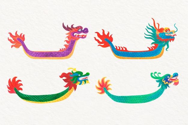 Пакет акварельных лодок-драконов