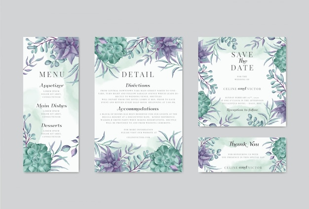 花の飾りと結婚式の招待状テンプレートのパック