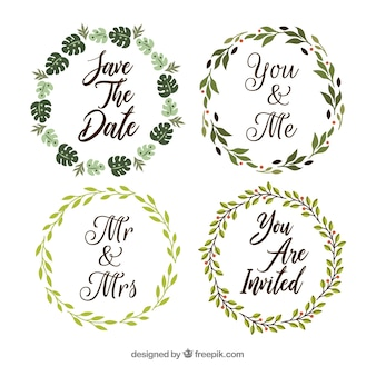 Pack of wedding ornaments in flat style