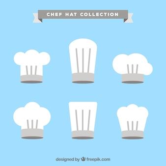 흰색과 회색 요리사 모자 팩