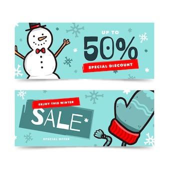 Пакет баннеров зимней распродажи с нарисованными элементами