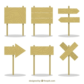 Пакет деревянных плакатов в плоском дизайне