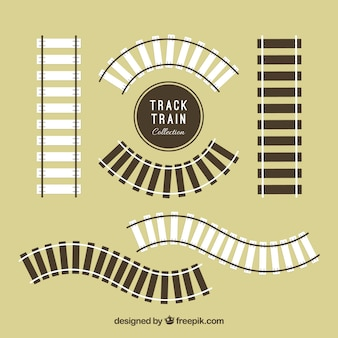 Pack of wooden railroad tracks in flat design