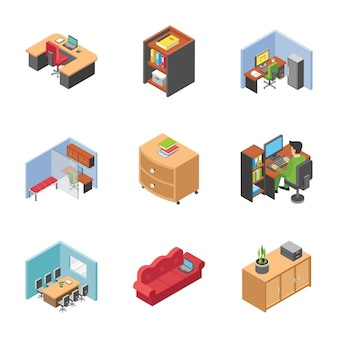 Pack of office area icons