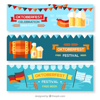 Pack of oktoberfest banners with flat elements