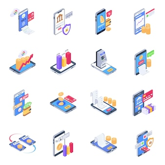 Pack of online banking isometric icons