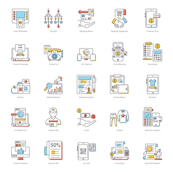 Pack of online payment flat icons