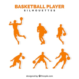 Pack orange basketball players silhouettes