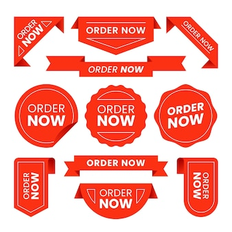 Pack of order now red stickers