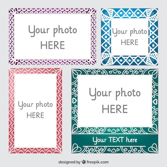 Pack of ornamental frames with abstract drawings