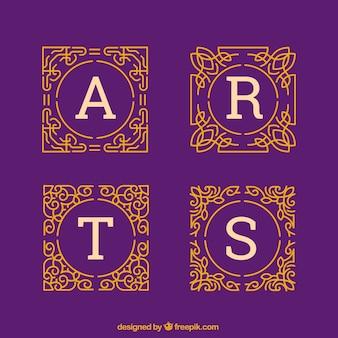 Pack of ornamental gold monograms