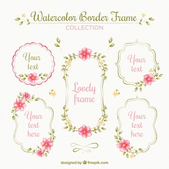Pack of ornamental watercolor frames with flowers
