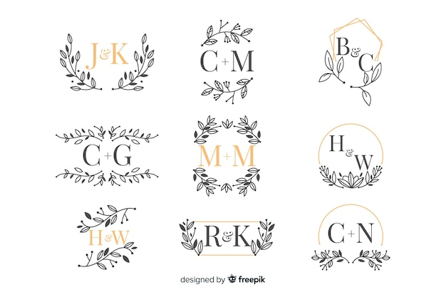 Pack of ornamental wedding monogram