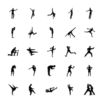 Pack of outdoor sports silhouettes vectors