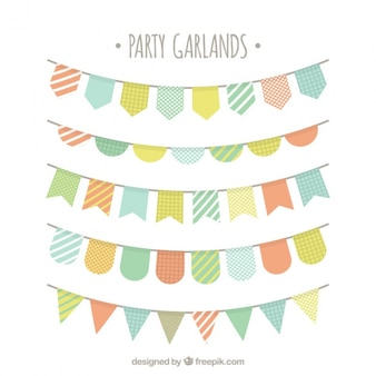 Pack of party buntings in pastel colors