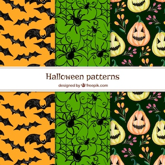 Pack of patterns with terrifying halloween elements