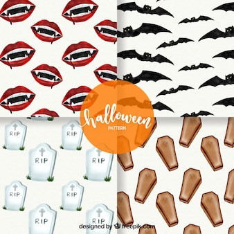 Pack of patterns with watercolor halloween elements