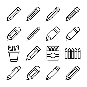 Pack of pencils line icons pack