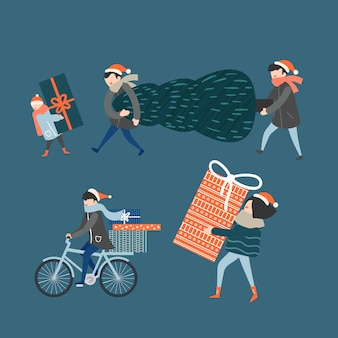 Pack of people buying gifts