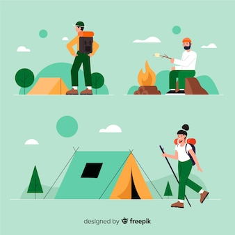Pack of people camping flat design