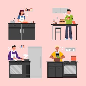 Confezione di persone che cucinano insieme