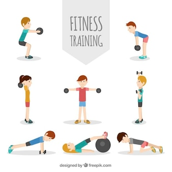 Pack of people exercising in flat design