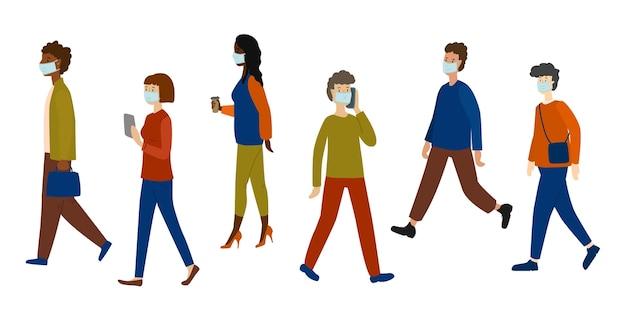 Branco di persone che tornano al lavoro indossando maschere facciali