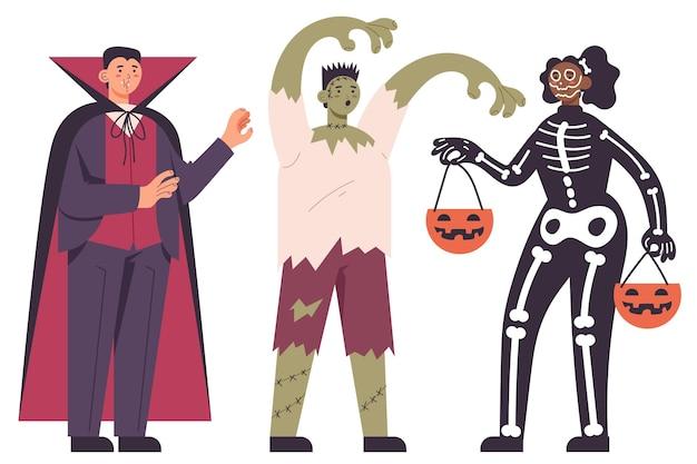 Pack of people in halloween costumes