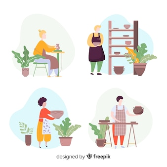 Pack of people making pottery flat design
