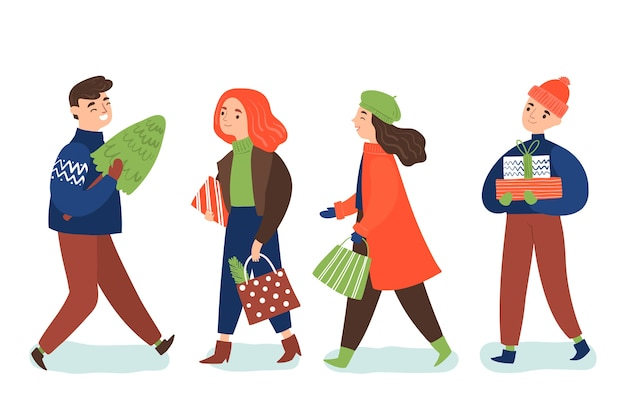 Pack of people with gifts