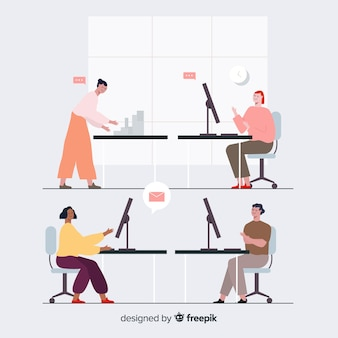 Pack of people working at their desks
