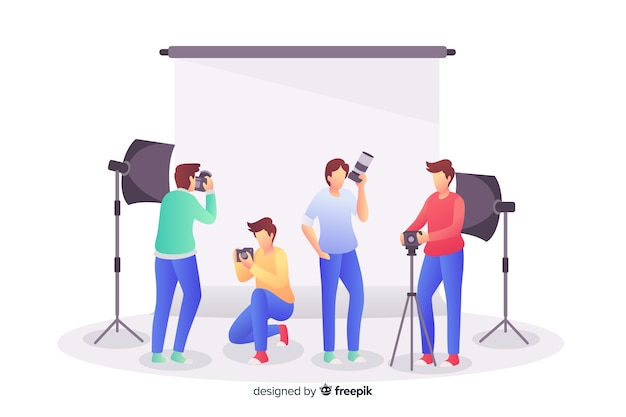 Pack of photographers working flat design