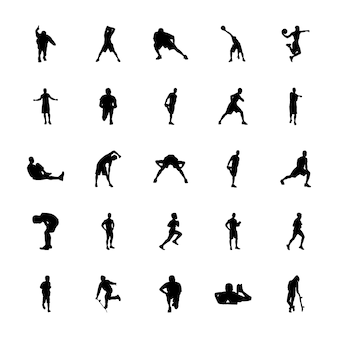 Pack of physical activities silhouettes vectors