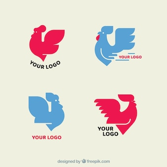 Pack of pink and blue logos with chickens