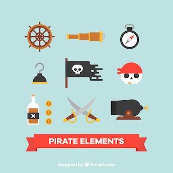 Confezione di elementi pirata in design piatto