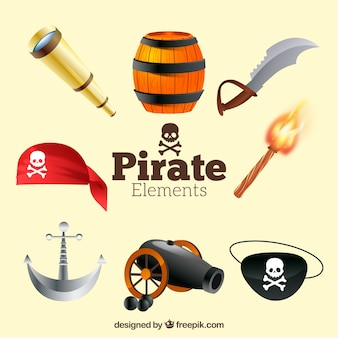 Pack of pirate items in realistic design