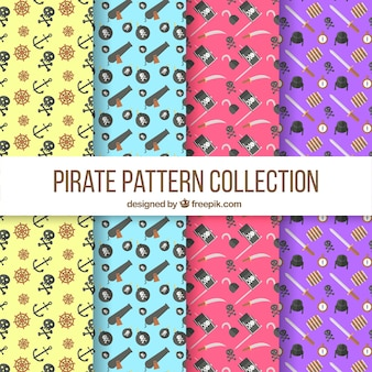 Pack of pirate patterns in flat design
