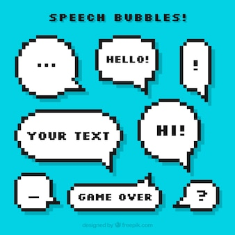 Pack of pixelated speech balloons with messages