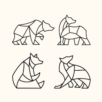 Pack of polygonal bear