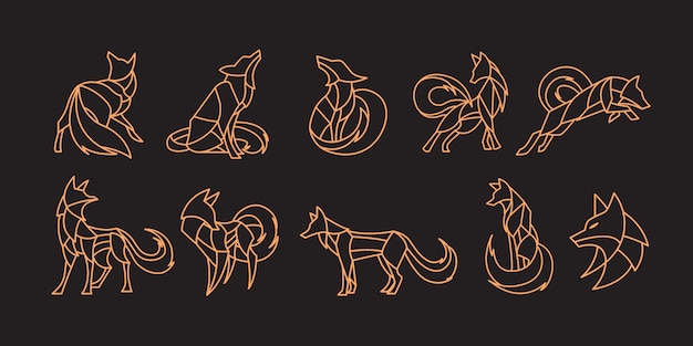 Pack of polygonal fox
