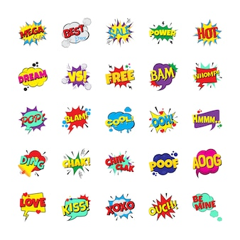 Pack of pop art emotion bubbles