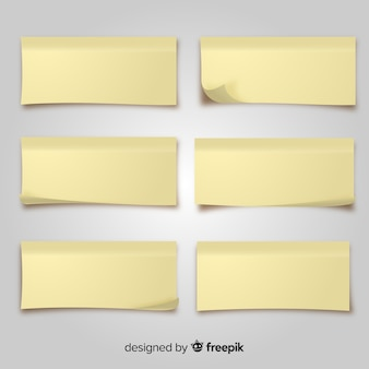 Pack of post notes in realistic style