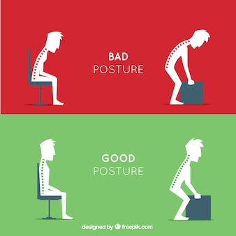 Pack of posture correct and incorrect