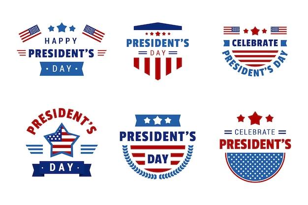 Confezione di etichette del giorno del presidente