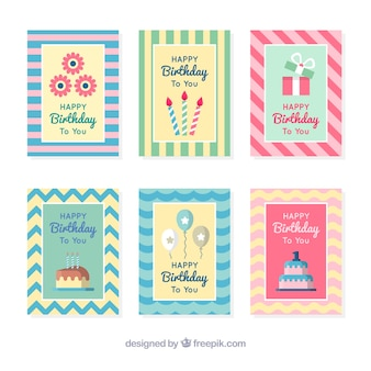 Pack of pretty birthday stripes cards