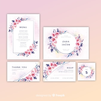 Pack of pretty floral wedding invitations