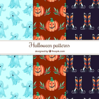 Pack of pretty watercolor halloween patterns